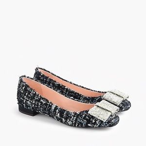 NWOB J. Crew Tweed Sparkle Bow Flats Glitter Soles